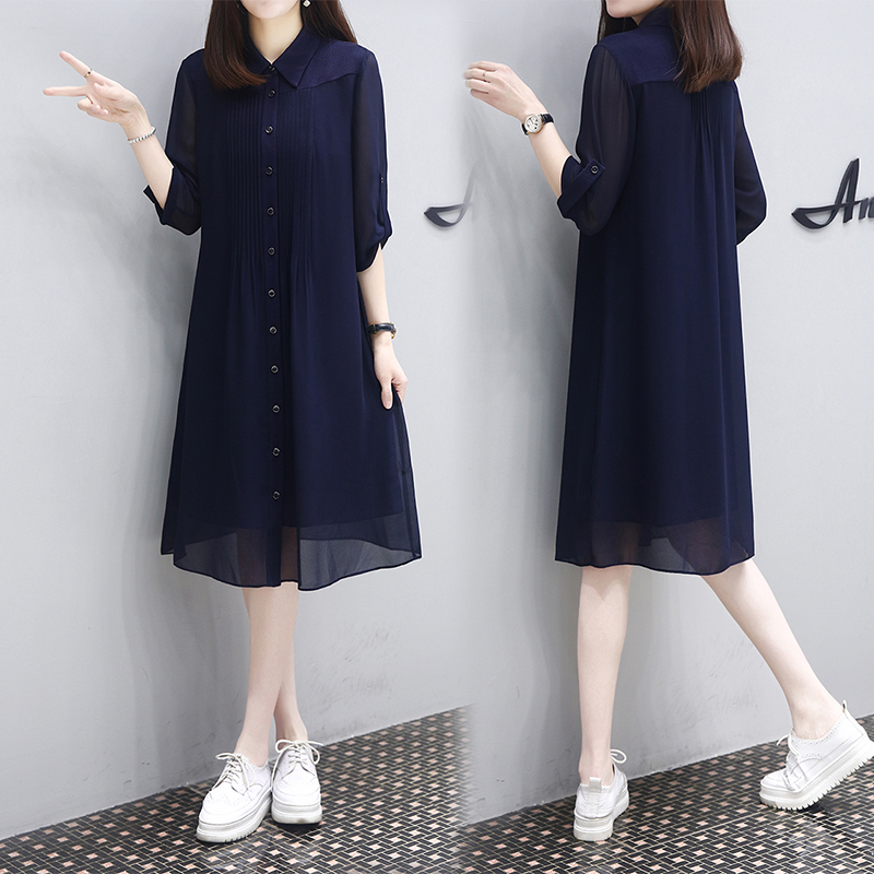2020 summer new 5-sleeve slim medium length dress with loose temperament and solid color versatile age reducing shirt skirt