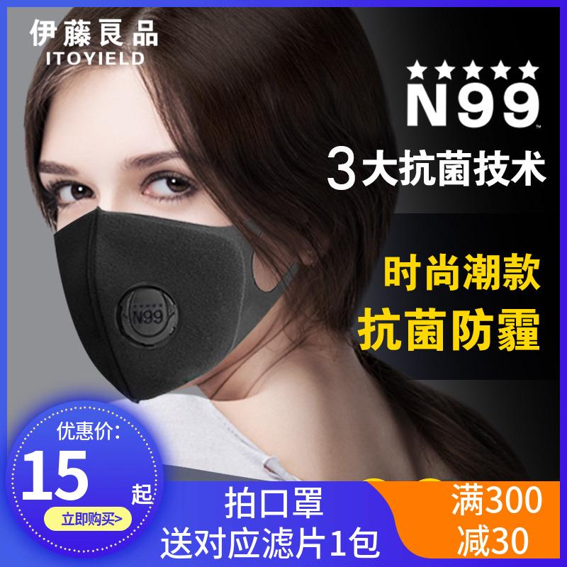伊藤良品日用抗菌防霾带呼吸阀口罩防尘透气可清洗易呼吸面罩