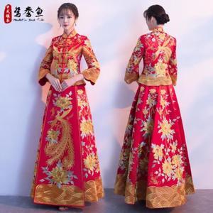 微胖禾服女秀禾服扇子演出中式中年冬装外穿女装实体店甜蜜婚纱女