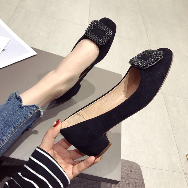 春鞋女2021新款仙女水钻方头粗跟单鞋百搭中跟工作鞋黑色低跟女鞋