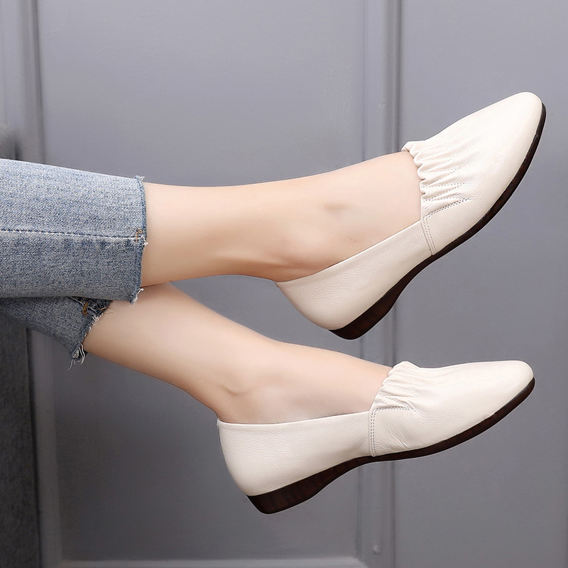 舒适大码豆豆鞋牛筋底妈妈鞋软底女式春秋软皮鞋防滑平底真皮单鞋