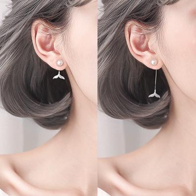 S925 Sterling Silver Pearl Earrings female fishtail long and short Earrings net red same Earrings temperament student earrings in stock