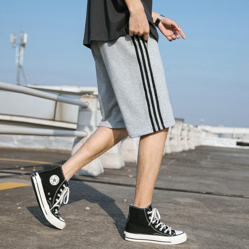 乔纳阿迪达夏季条纹运动休闲裤子男生直筒短裤宽松潮流五分沙滩裤