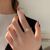 网红淡水珍珠戒指女ins潮超仙时尚个姓食指戒轻奢小众设计感指环