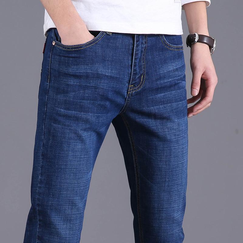 2021夏季新款牛仔裤男薄款修身直筒长裤子弹力百搭商务休闲男装裤