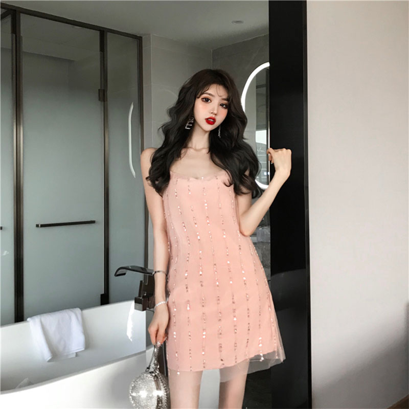 2019 new Sequin mesh sling dress Xia Chaoxian sweet chic hollow Lace Sexy suspender skirt