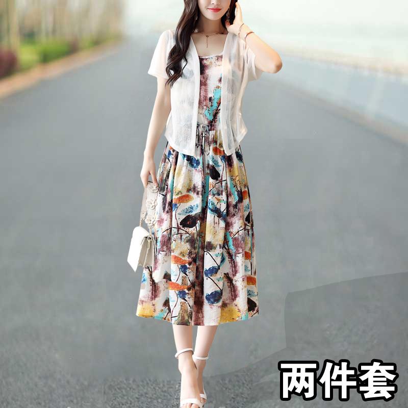 棉麻连衣裙2019新款夏季女装时尚搭配亚麻套装宽松麻料女士两件套