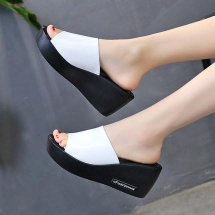 11韩版夏季新款厚底坡跟外穿子拖鞋