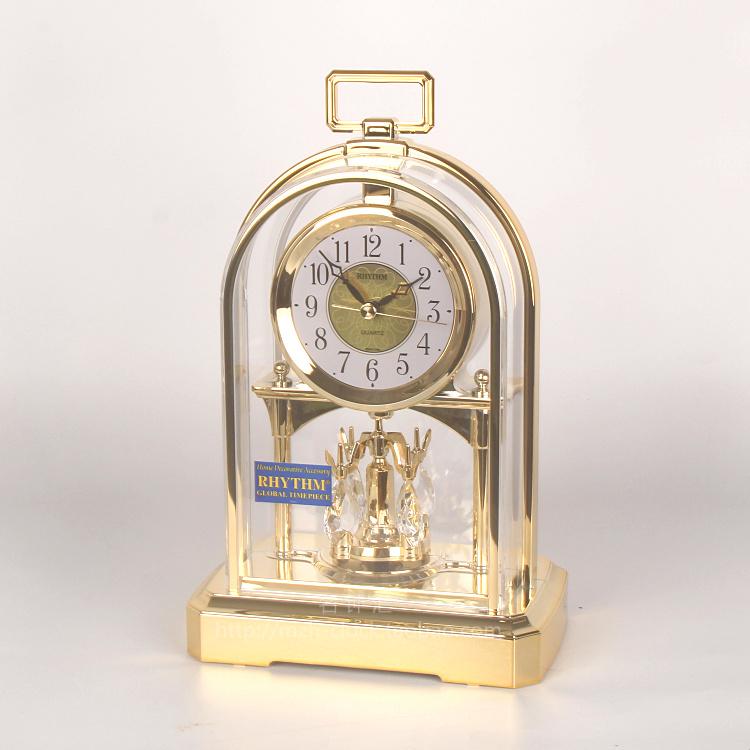 RHYTHM日本丽声钟表婚房现代客厅欧式水晶摆静音创意台座钟4SG744 Изображение 1