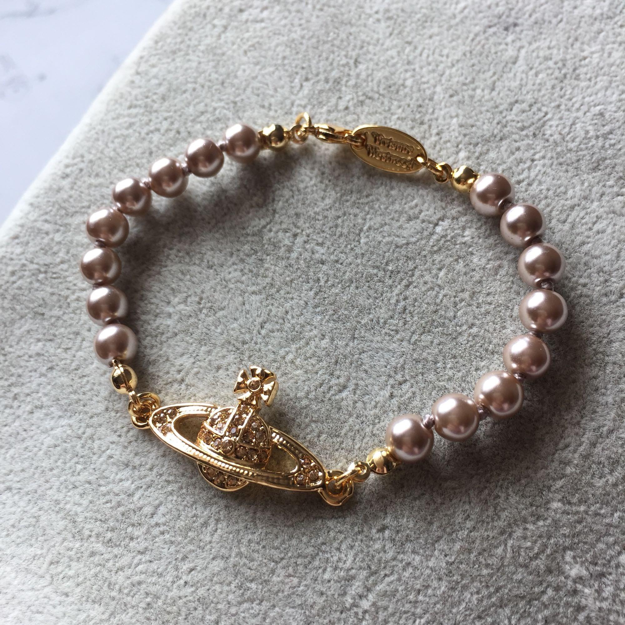 欧美饰品 首饰 新款金色满钻小土星烟褐色珍珠手链 s003包邮