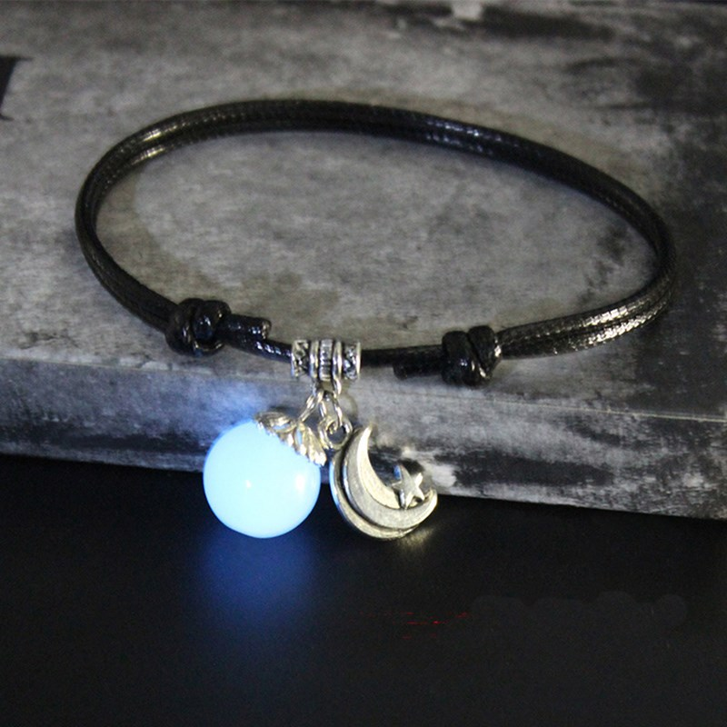 Night light moon forest mens and womens simple black foot chain Japanese and Korean version lovers foot ring personalized Anklet fashion foot rope