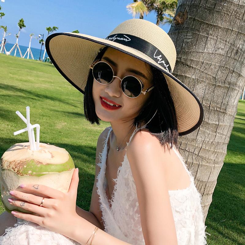 沙滩帽子女夏海边大檐帽草帽可折叠太阳帽度假防晒遮阳帽韩版休闲假一赔十