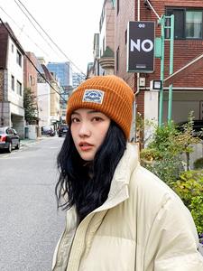 秋冬季日系北极熊贴布韩国男毛线帽