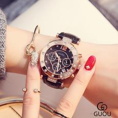 GUOU官方正品女士手表大牌高档名牌防水时尚款大气三眼个性大表盘