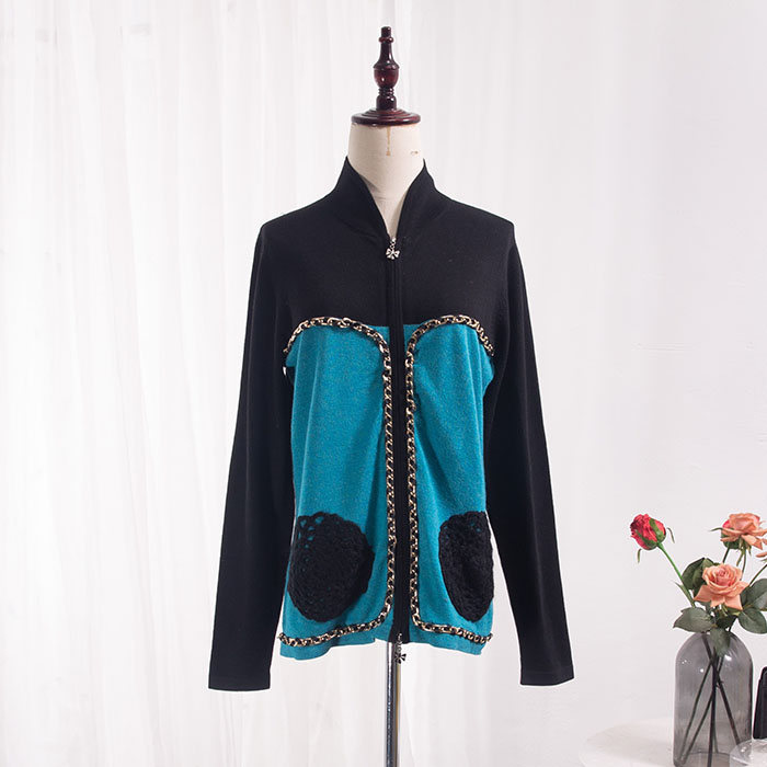 Spring and autumn metal chain embroidery decoration elastic slim knit zipper cardigan jacket