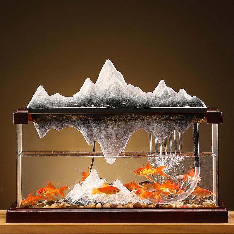 流水鱼缸摆件创意客厅办公室桌面循环水假山喷泉水景生财乔迁礼品