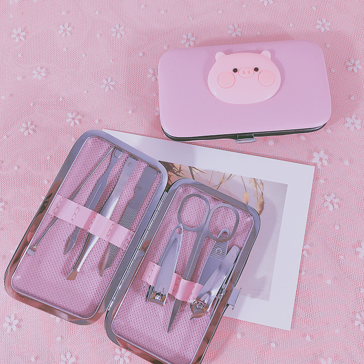 Girl cartoon student nail clippers 7-piece set nail clippers 7-piece set nail beauty tools set nail clippers