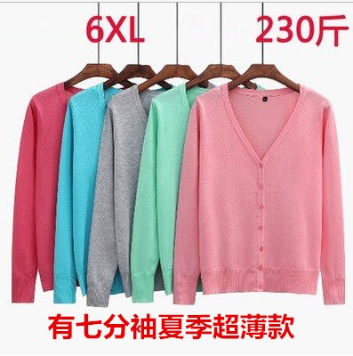 Extra fat plus size womens fat sister spring and autumn knitwear extra large 200 kg thin coat cardigan sun proof clothes