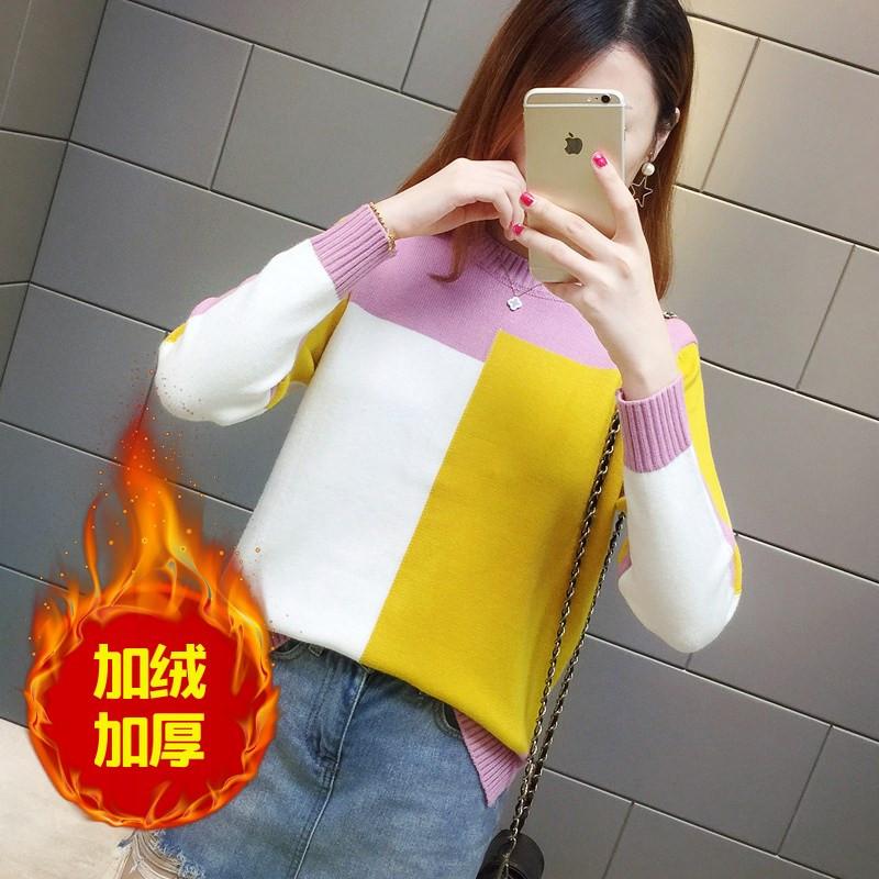 加绒厚针织衫宽松18女装秋装韩版长袖新款撞色格子毛衣加厚打底衫