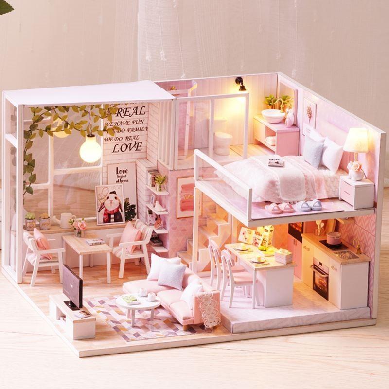 双层组装迷你房子diy房屋室内模型建筑模型楼房送女友房间灯光diy