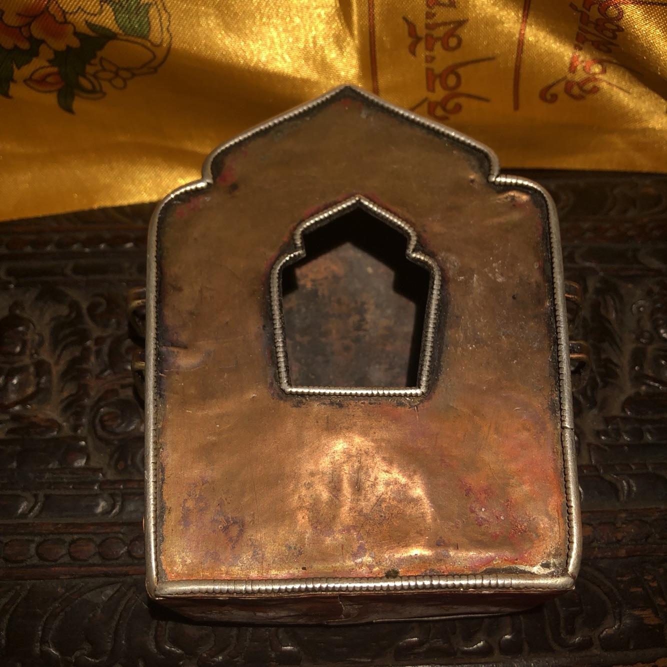 西藏特色手工艺 真品大尺寸紫铜老嘎呜盒 佛教用品七珍宝