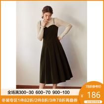 独束大码女装丝绒吊带连衣裙2020新款秋冬胖MM法式气质背带裙显瘦
