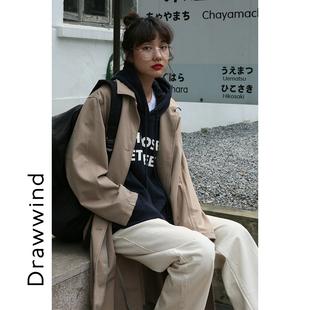 画风drawwind卡其色风衣女中长款 小个子早秋气质宽松休闲大衣外套