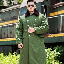 长款加厚军棉大衣男冬季防寒正品劳保用绿棉袄老式风衣东北大棉衣