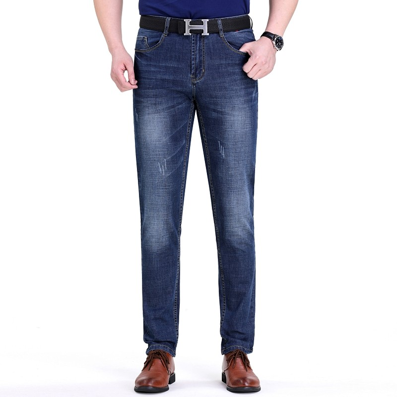 Counter authentic summer thin mens jeans high grade business casual mens jeans Korean slim straight tube