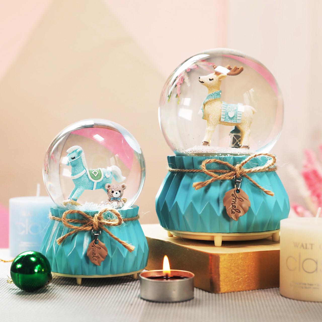 独角兽水晶球摆件八音盒可爱带雪花可发光女孩生日礼物音乐盒抖音