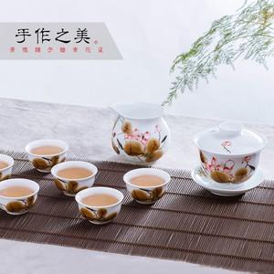 协龙腾高档釉下青花五彩瓷手绘功夫茶具整套装 景德镇盖碗6人家用