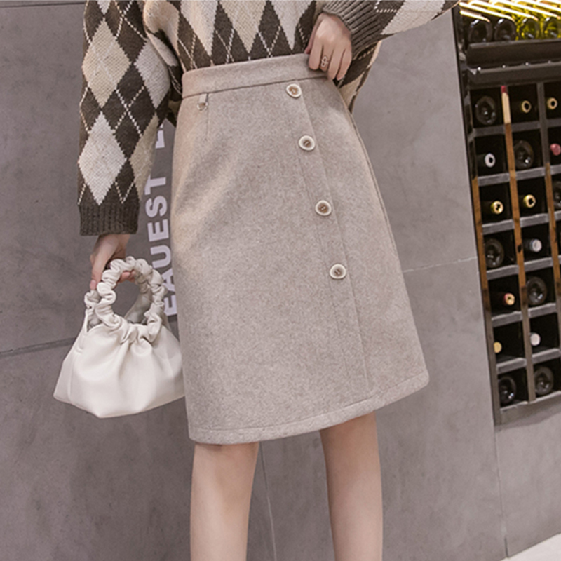 Aiyifu Meiji Aiyi dress tweed knee length skirt for women autumn and winter 2020 new single breasted solid A-line