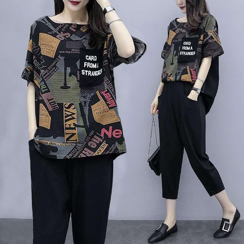 柒月雅画美时尚女装店2020短袖夏新款套装加大码韩版宽松遮肚洋气