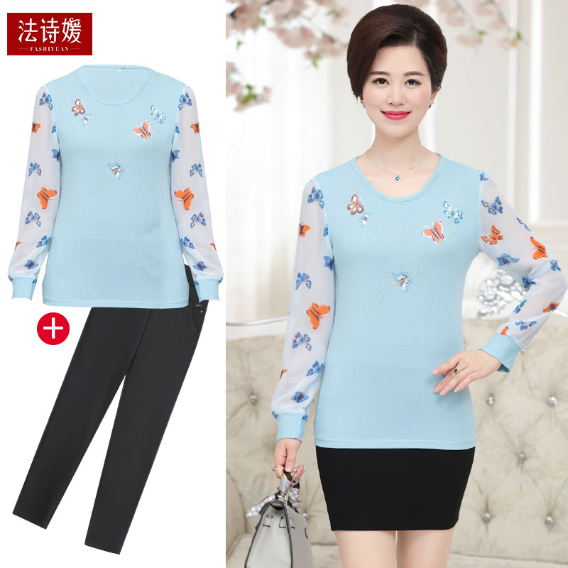 2019 new mothers spring and autumn clothes long sleeve upper clothes middle-aged and old-age Western-style shirt women wearing autumn clothes
