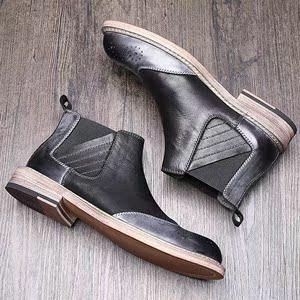 秋季英伦风切尔西靴男高帮皮靴布洛克皮鞋男牛仔靴复古靴子男短靴
