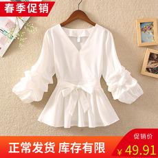 裙摆小衫雪纺设计感小众泡泡灯笼蓬蓬袖V领收腰娃娃白衬衫女上衣