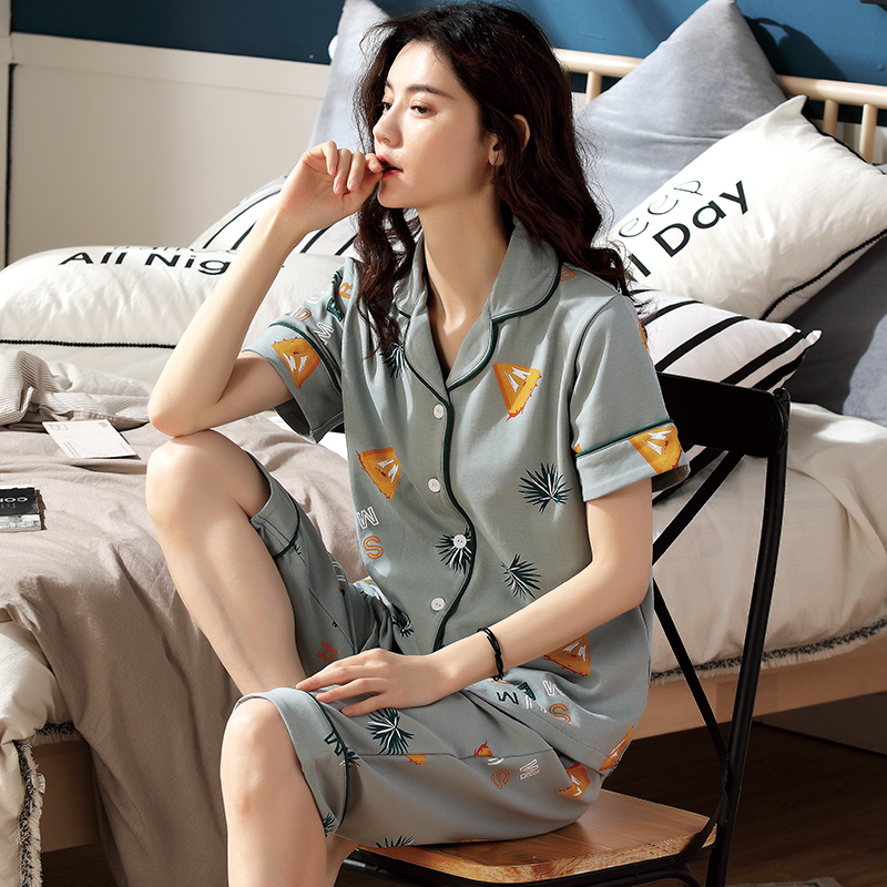 Summer pajamas womens cotton short sleeved Capris summer thin cotton cardigan two-piece loose large home clothes