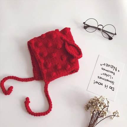 女童毛线帽子可爱毛毛球耳朵秋冬新款韩版女宝宝保暖毛线帽子