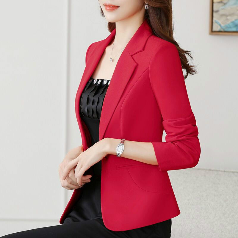 2020 spring and autumn new net red Blazer outerwear women's casual and all-around slim fit middle sleeve thin white suit top