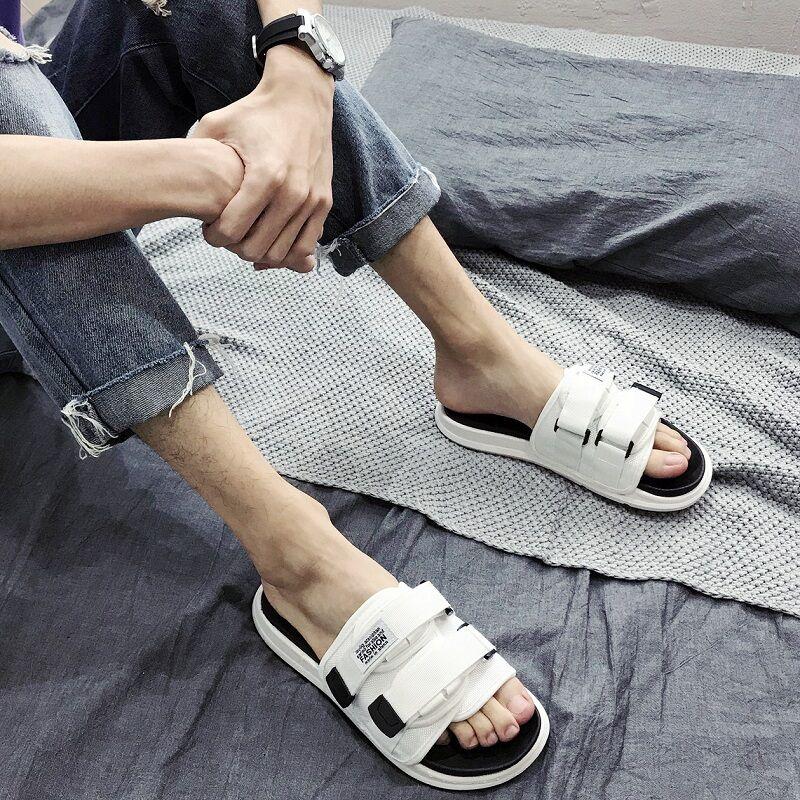 男夏外穿韩版一字拖情侣室外潮拖鞋用后评测