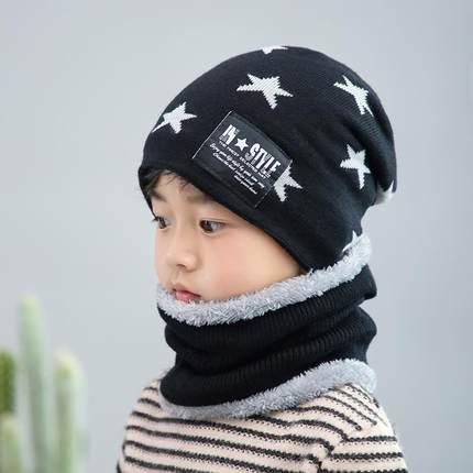 儿童帽子秋冬男童女童加厚加绒保暖护耳宝宝毛线帽围巾两件套装潮