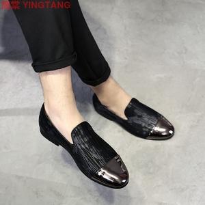 2019新款双色欧美流行潮鞋英伦男士皮鞋同款乐福鞋一脚蹬男鞋