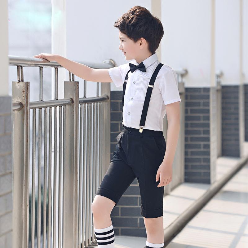 儿童礼服夏季男童花童装钢琴演出服背带短裤套装小男孩合唱表演服
