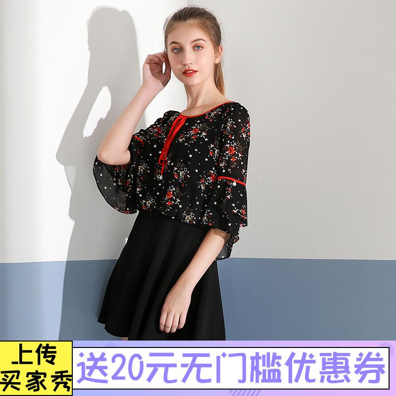 薇◆秋汉派女装品牌折扣专柜新款 喇叭袖系绳细腻印花 雪纺连衣裙