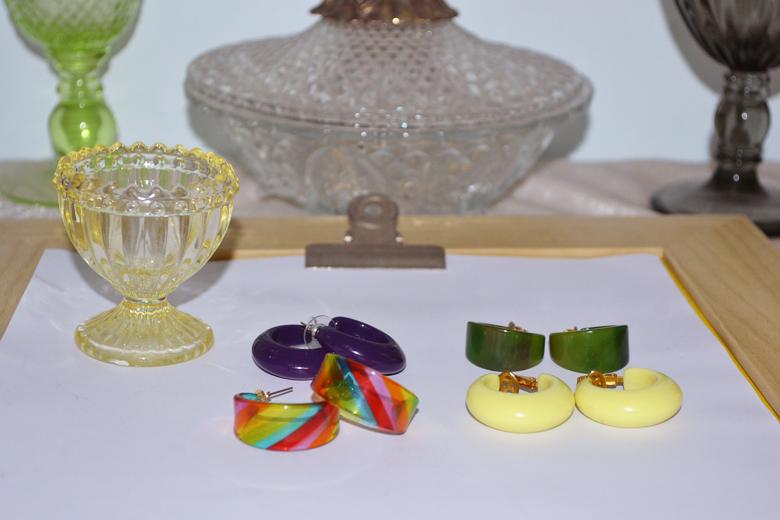 艺伎的胭脂 vintage lucite 亚克力 圈黄绿紫彩虹色 时髦耳夹耳针