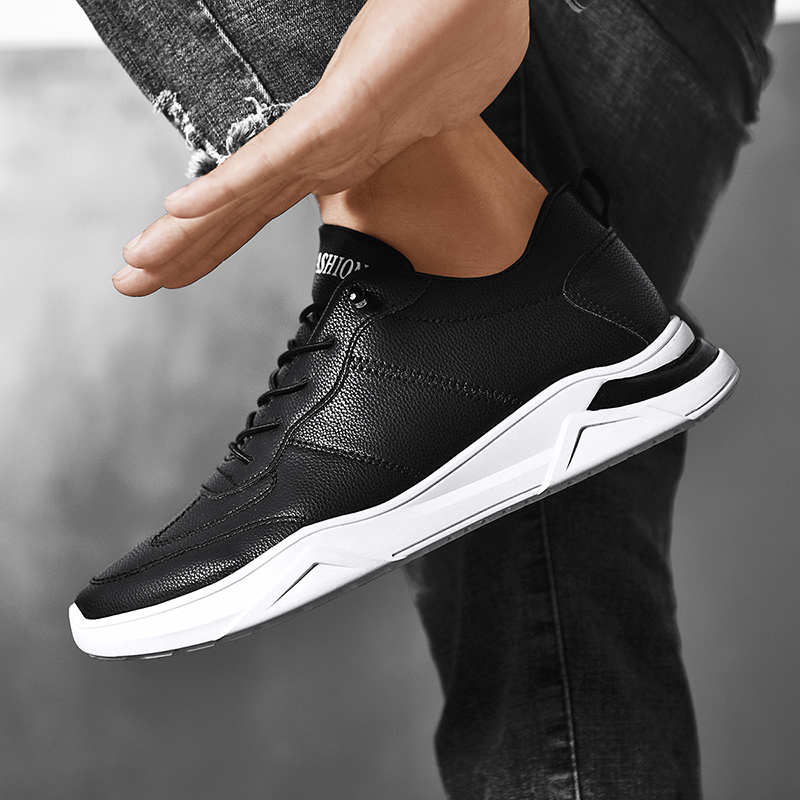 New leather face small white shoes mens spring and summer pure color versatile shoes trend lazy British casual mens shoes trend