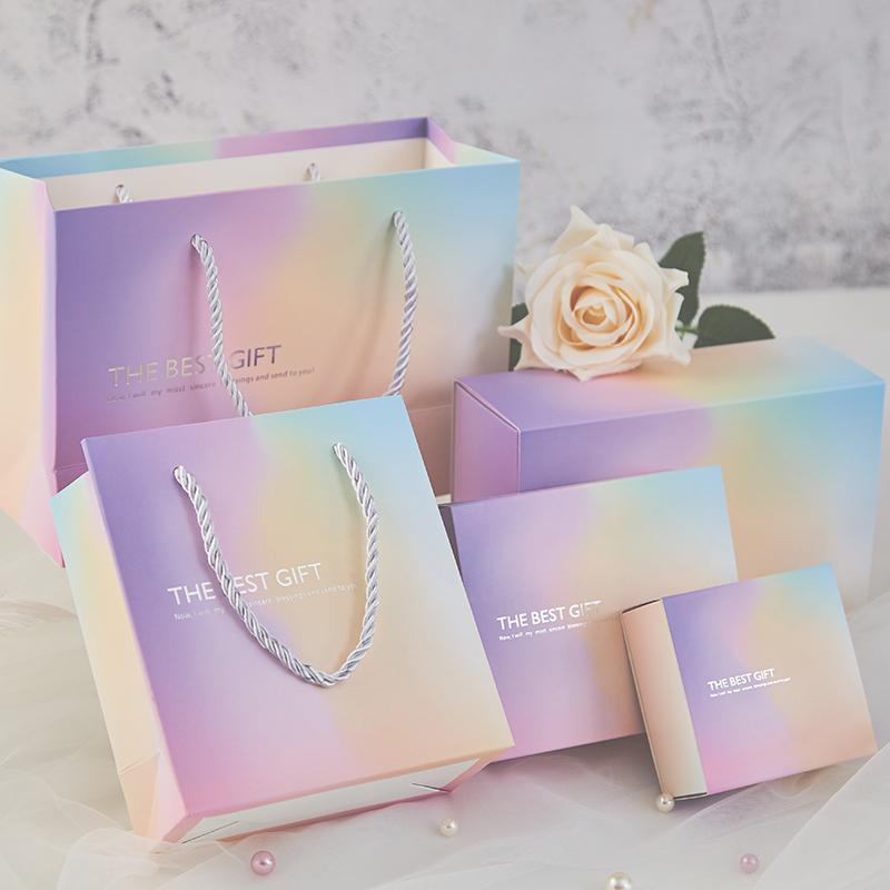 限3000张券小清新渐变色INS风抽屉喜糖盒 婚礼糖果盒满月喜盒商务伴手礼品盒