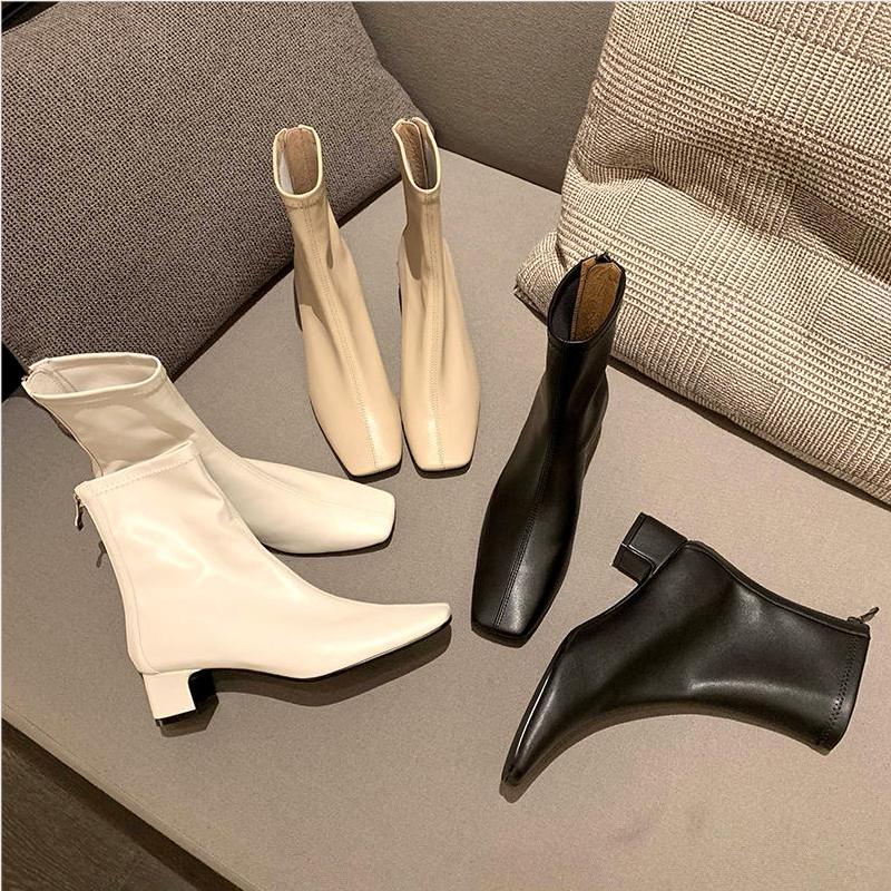 2019新款网红瘦瘦靴ins中跟女鞋百搭粗跟短靴女靴子方头春秋单靴