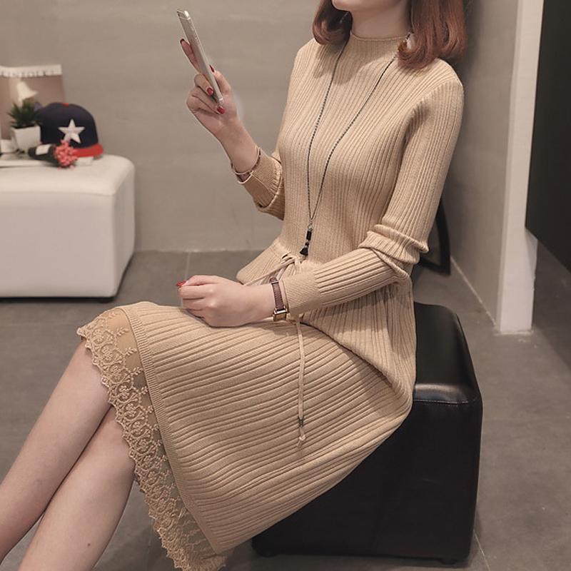 针织连衣裙女秋季2019新款毛衣打底裙子女长袖长款韩版修身过膝bf
