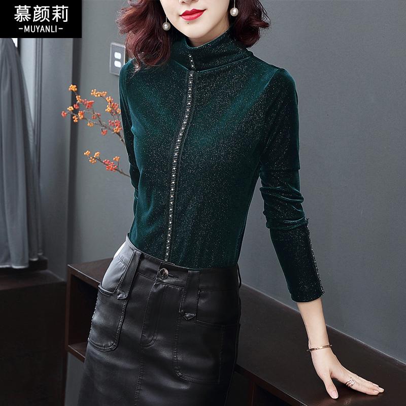 黑色衬衣女修身长袖